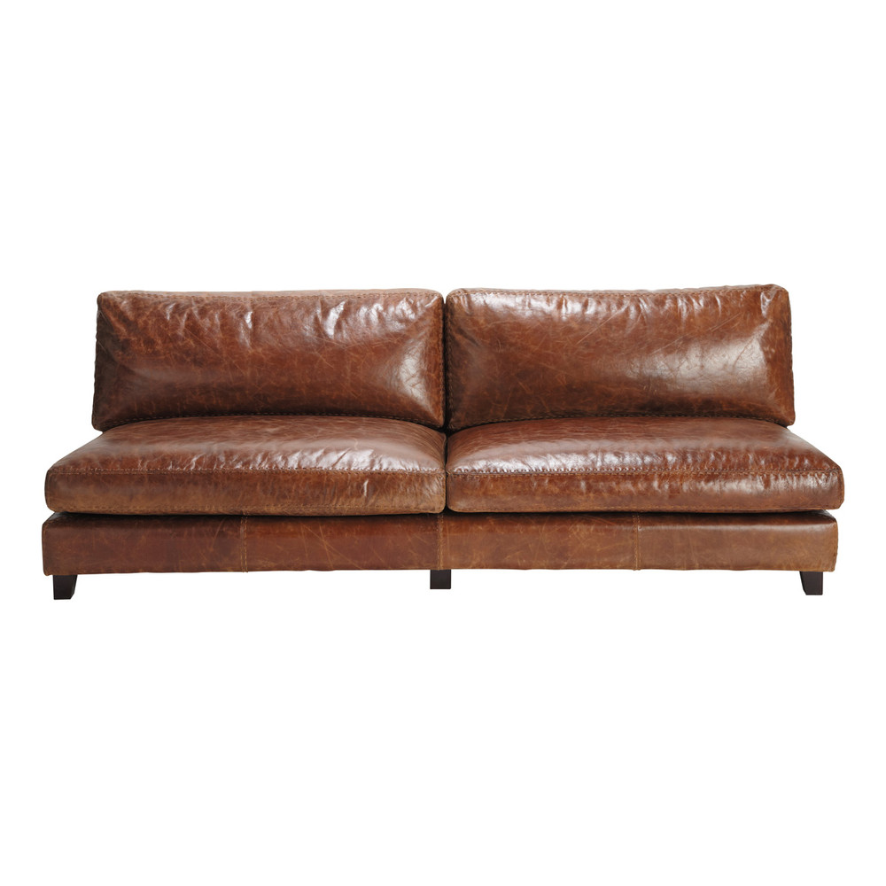 2 3 seater leather vintage sofa in brown nevada maisons du monde Vintage tan leather sofa