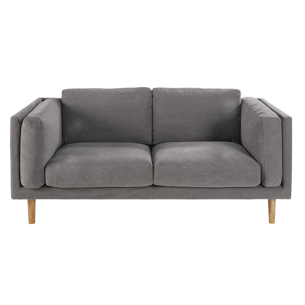 2 3 sitzer sofa mit grauem baumwollbezug harper maisons du monde. Black Bedroom Furniture Sets. Home Design Ideas