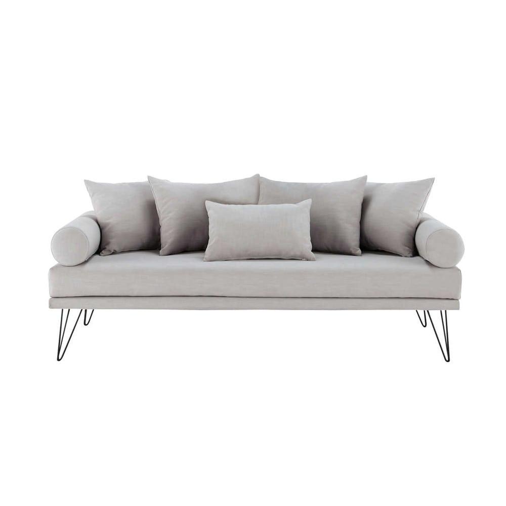 2 3 sitzer vintage polsterbank aus stoff hellgrau martine maisons du monde. Black Bedroom Furniture Sets. Home Design Ideas