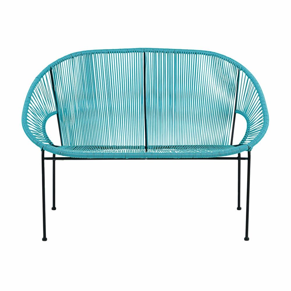 2 3 zits tuinbank van blauw wicker en zwart metaal. Black Bedroom Furniture Sets. Home Design Ideas