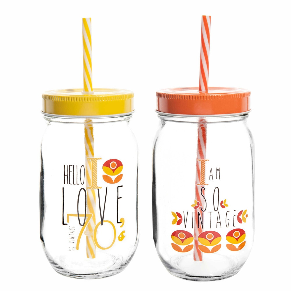 2 bocaux avec paille en verre jaune orange h 14 cm seventies maisons du monde - Verre avec paille maison du monde ...