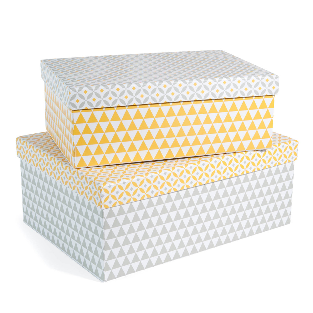 2 bo tes en carton jaunes grises l 30 et l 35 cm yellow for Boite a chapeau maison du monde