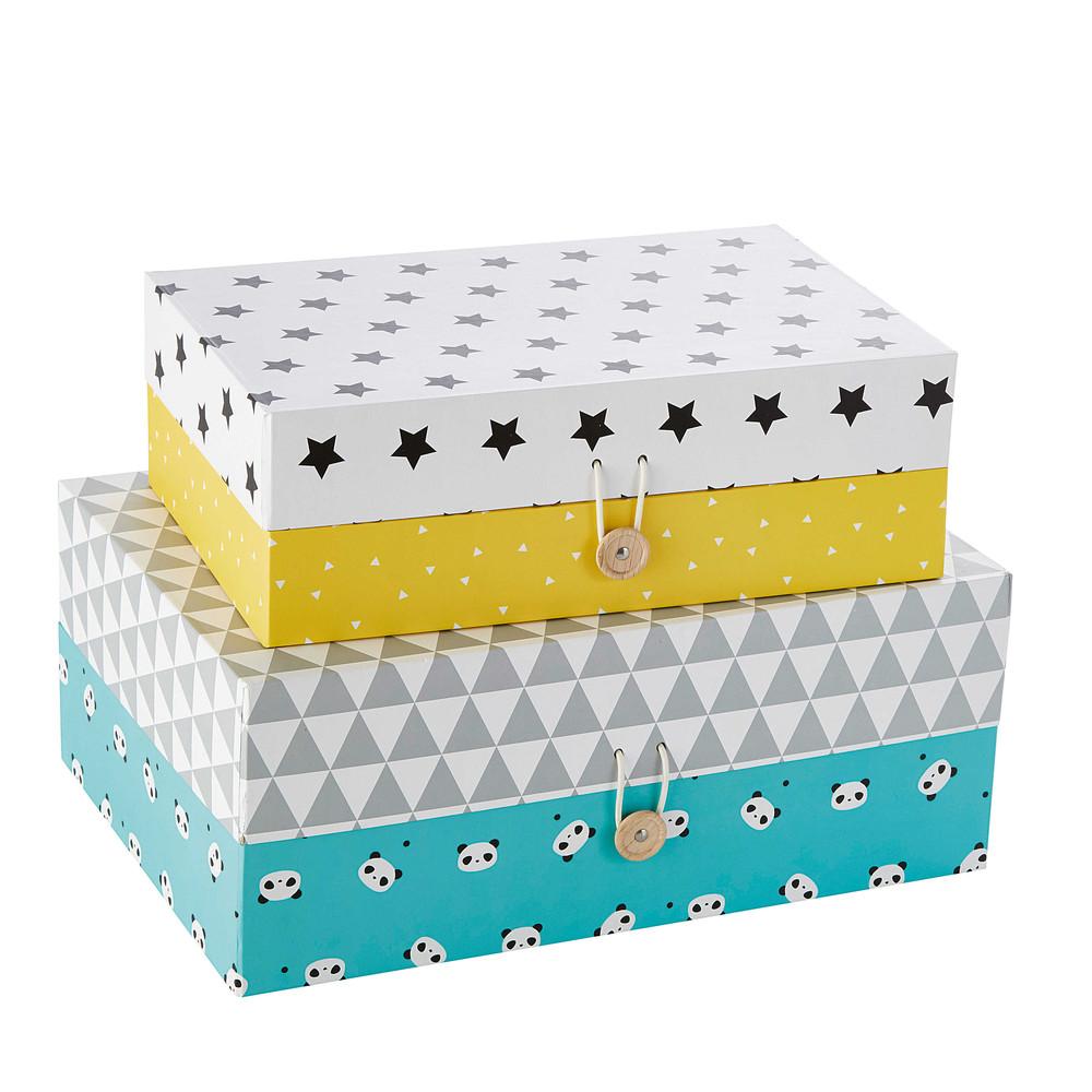 2 bo tes rectangles en carton jaune bleu l 30 et l 35 cm for Boite a chapeau maison du monde