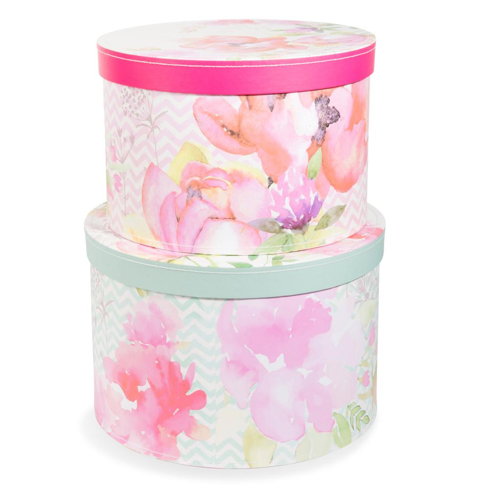 2 bo tes rondes en carton rose vert d 26 et d 29 cm for Decoration boite carton
