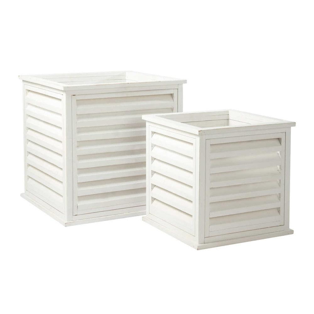 2 cache pots blancs g e maisons du monde. Black Bedroom Furniture Sets. Home Design Ideas