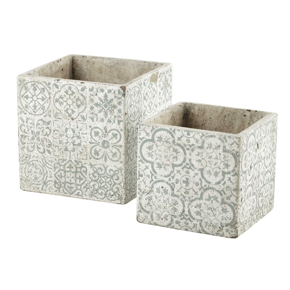 2 cache pots en c ramique h 18 cm et h 25 cm lucile maisons du monde. Black Bedroom Furniture Sets. Home Design Ideas