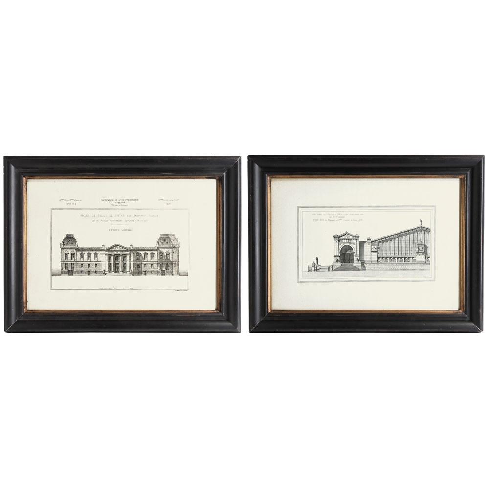 2 cadres en bois noirs 61 x 81 cm architecte maisons du monde. Black Bedroom Furniture Sets. Home Design Ideas
