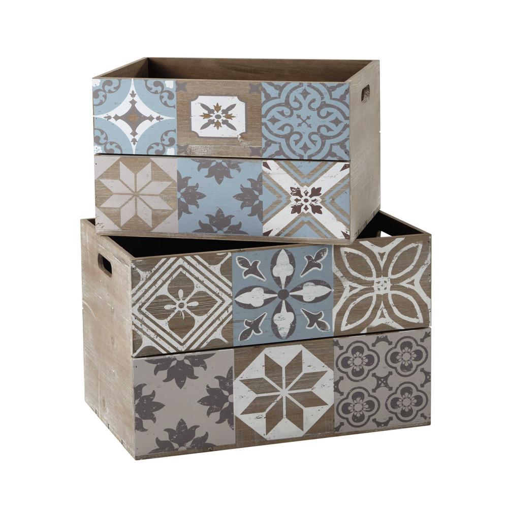 Caisse En Bois Maison Du Monde : caisses en bois 29 x 40 cm et 32 x 48 cm ARMELLE Maisons du Monde