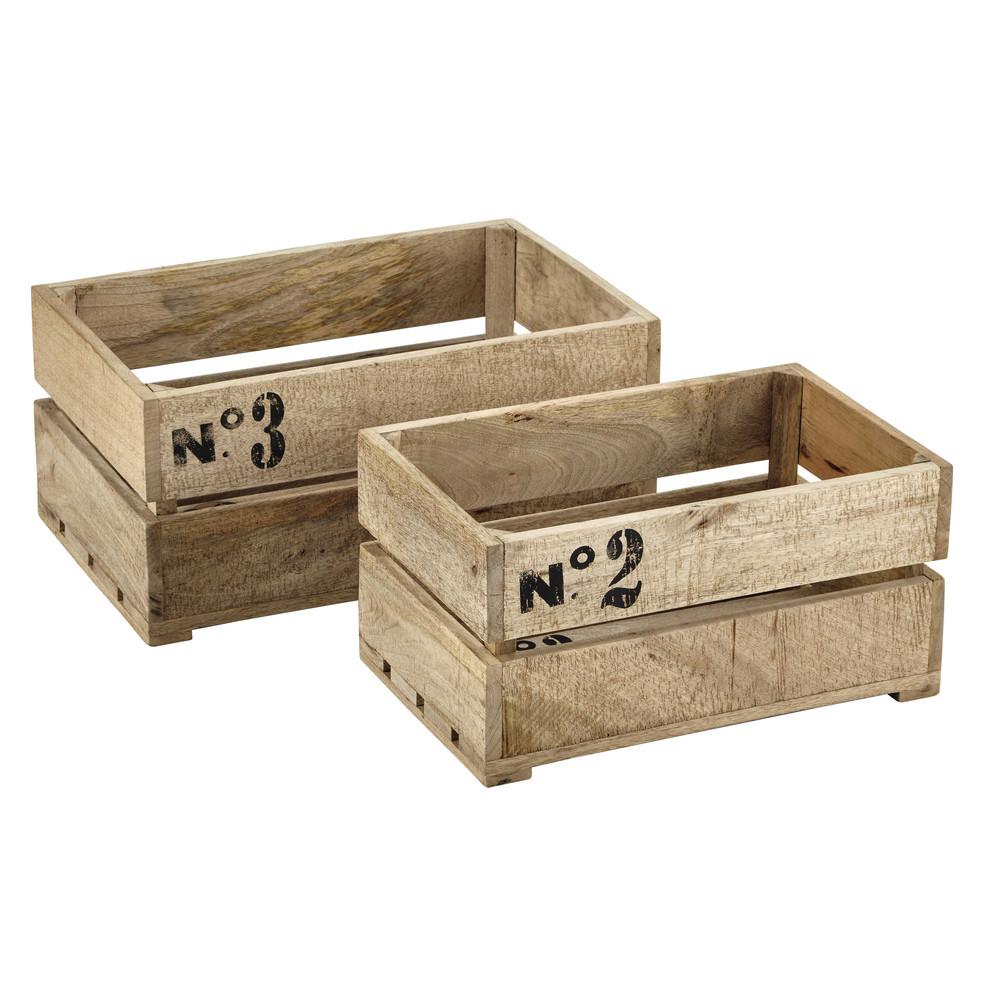 2 caisses en bois 29 x 47 cm et 35 x 54 cm armel maisons du monde. Black Bedroom Furniture Sets. Home Design Ideas