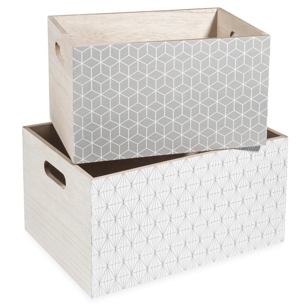 Caisse En Bois Maison Du Monde : caisses en bois gris/blanc L 24 et L 28 cm SIGRID Maisons du Monde