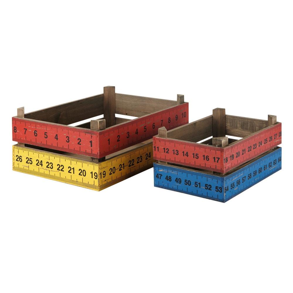 Caisse En Bois Maison Du Monde : en bois l 30 et l 40 cm school ces deux caisses de rangement en bois