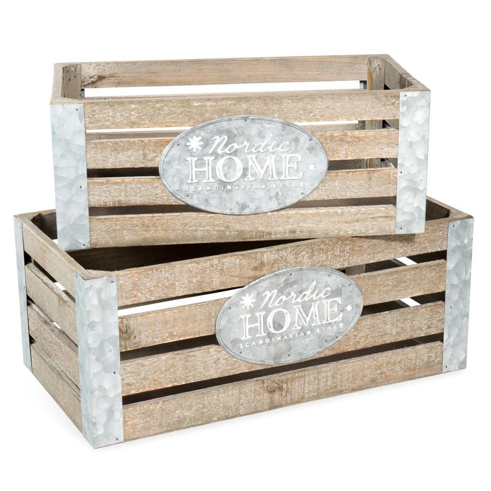 2 caisses en bois l 32 et l 39 cm home maisons du monde. Black Bedroom Furniture Sets. Home Design Ideas