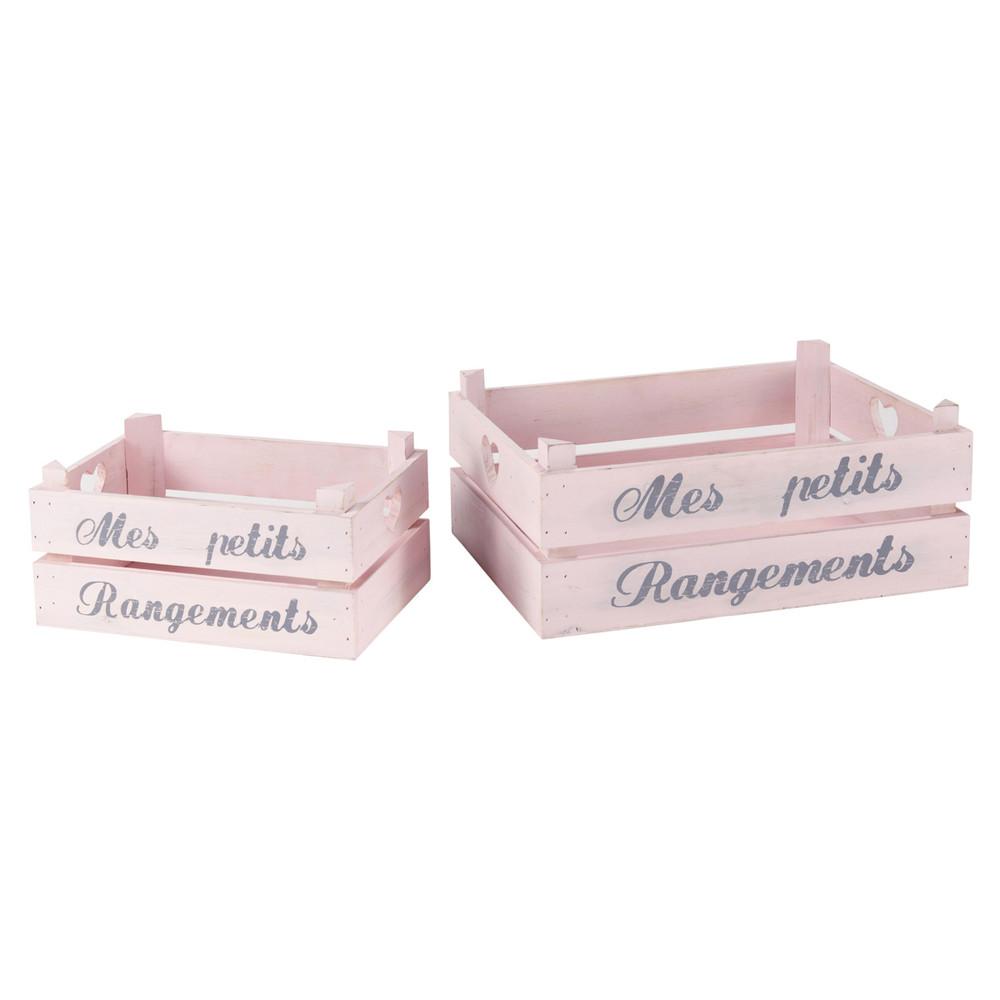 2 caisses en bois rose l 30 et l 40 cm pastel maisons du for Boite a chapeau maison du monde