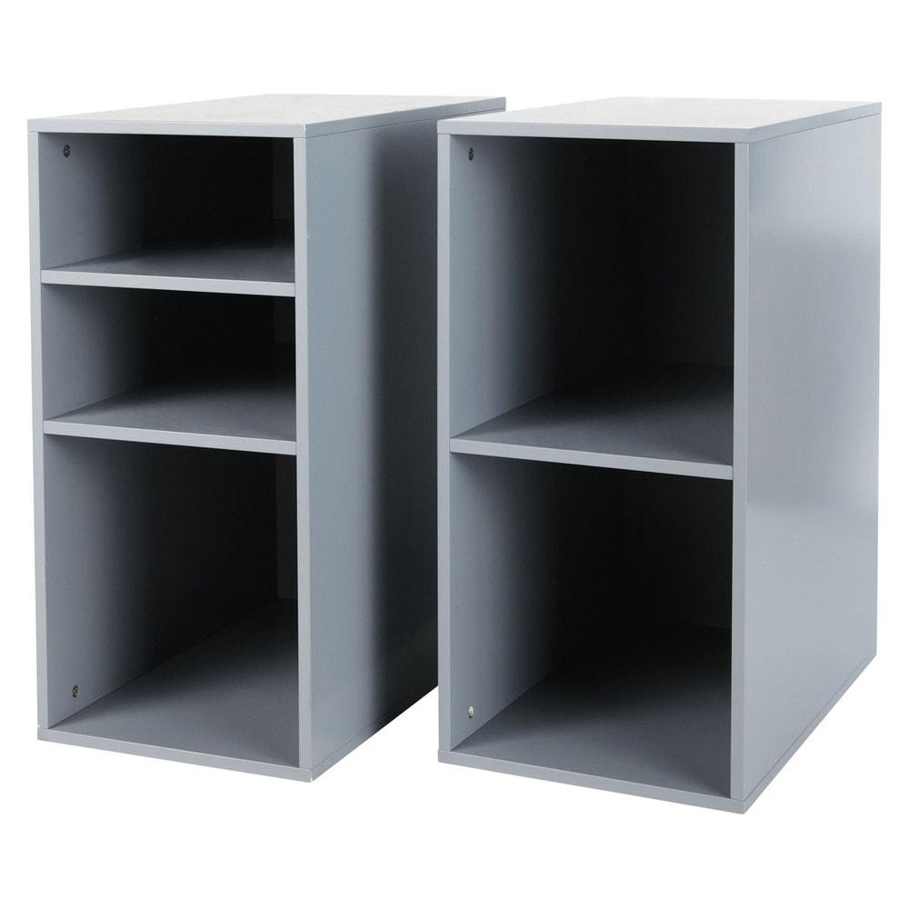 2 caissons de bureau gris h 73 cm desk maisons du monde for Maison caisson