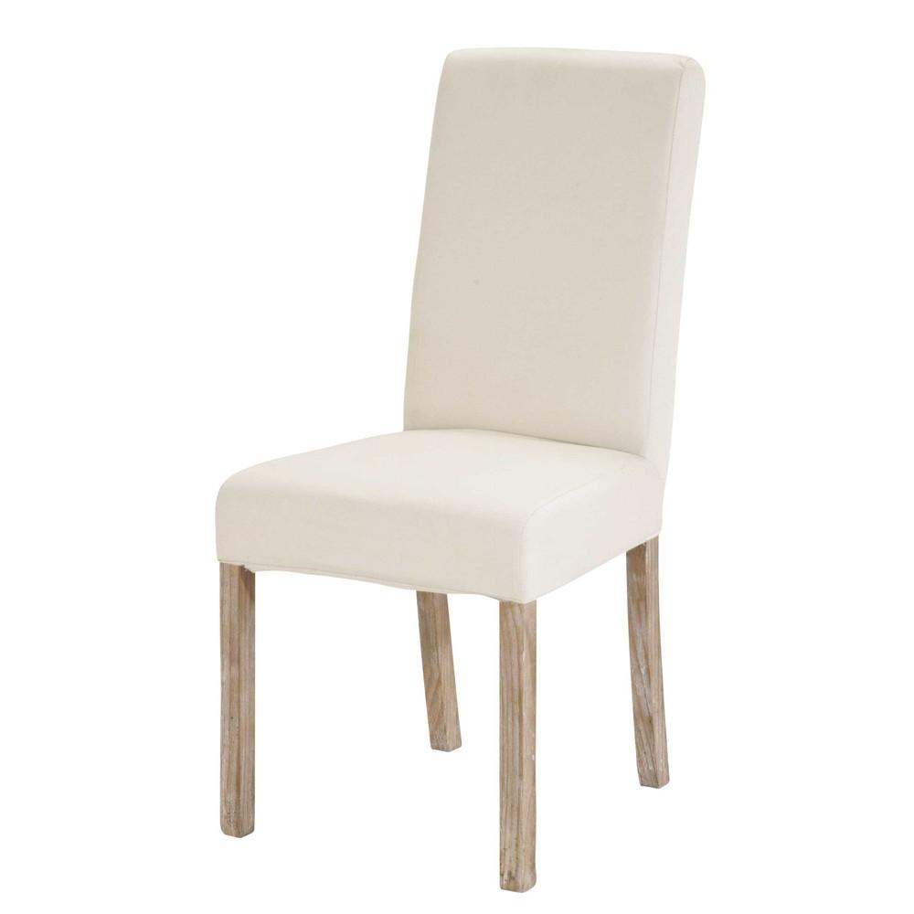 2 chaises housser en pin blanchi et tissu blanc margaux maisons du monde. Black Bedroom Furniture Sets. Home Design Ideas