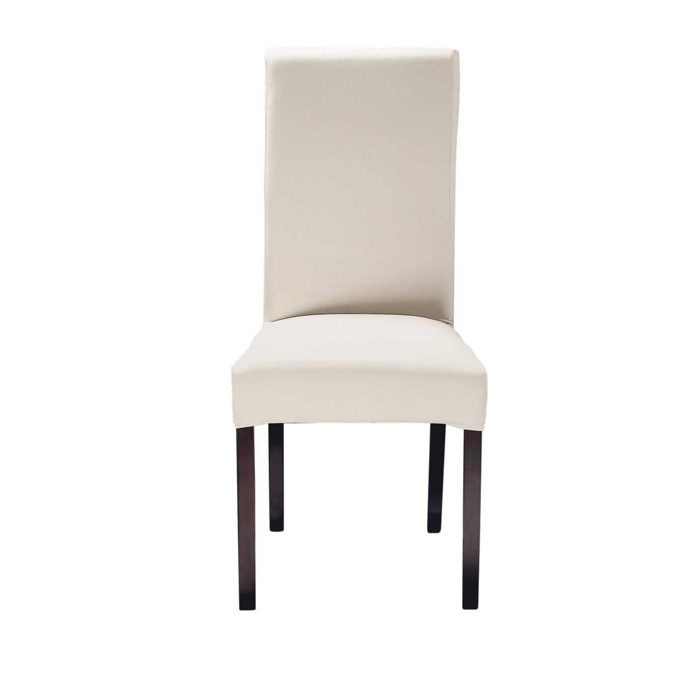 2 chaises en pin et tissu blanc Margaux | Maisons du Monde