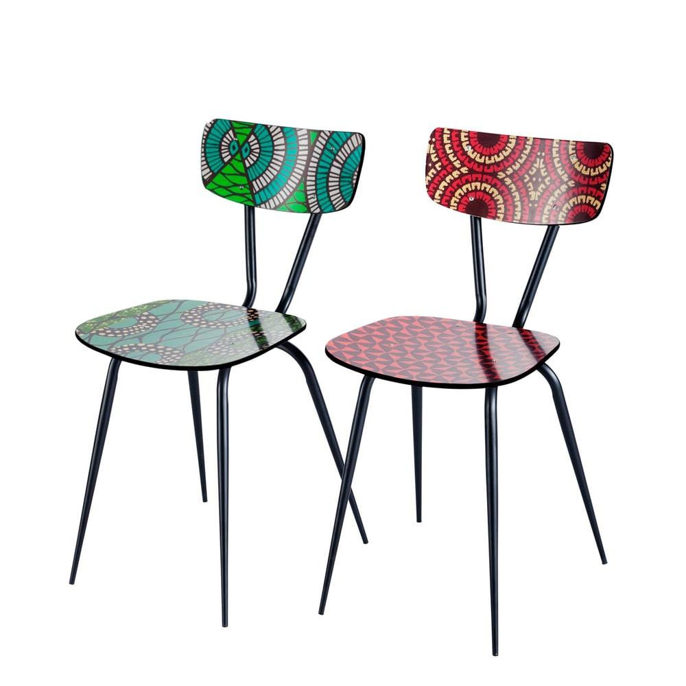 2 chaises imprim s multicolores bamako maisons du monde for Chaises maisons du monde