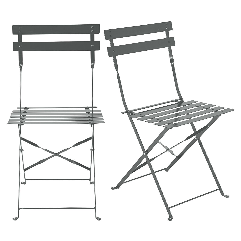 2 Chaises Pliantes De Jardin En Mtal Guinguette