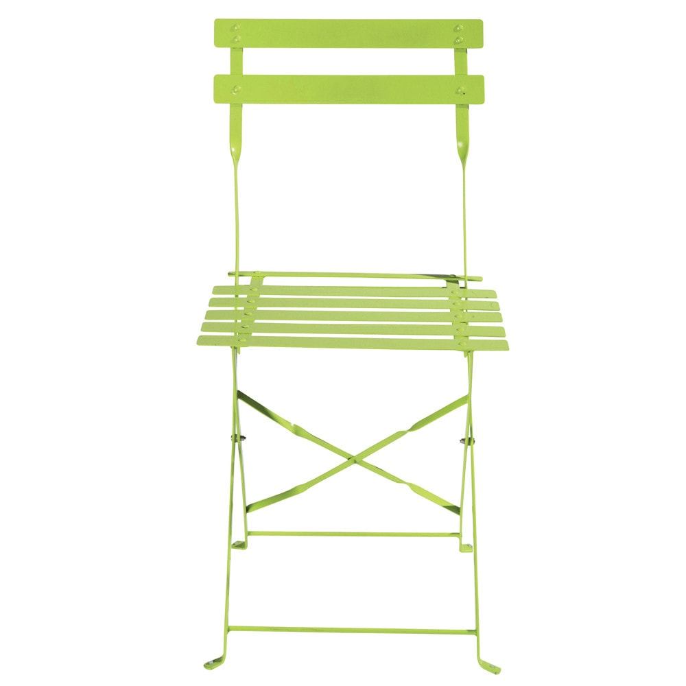 2 chaises pliantes de jardin en m tal anis confetti for Chaises pliantes de jardin