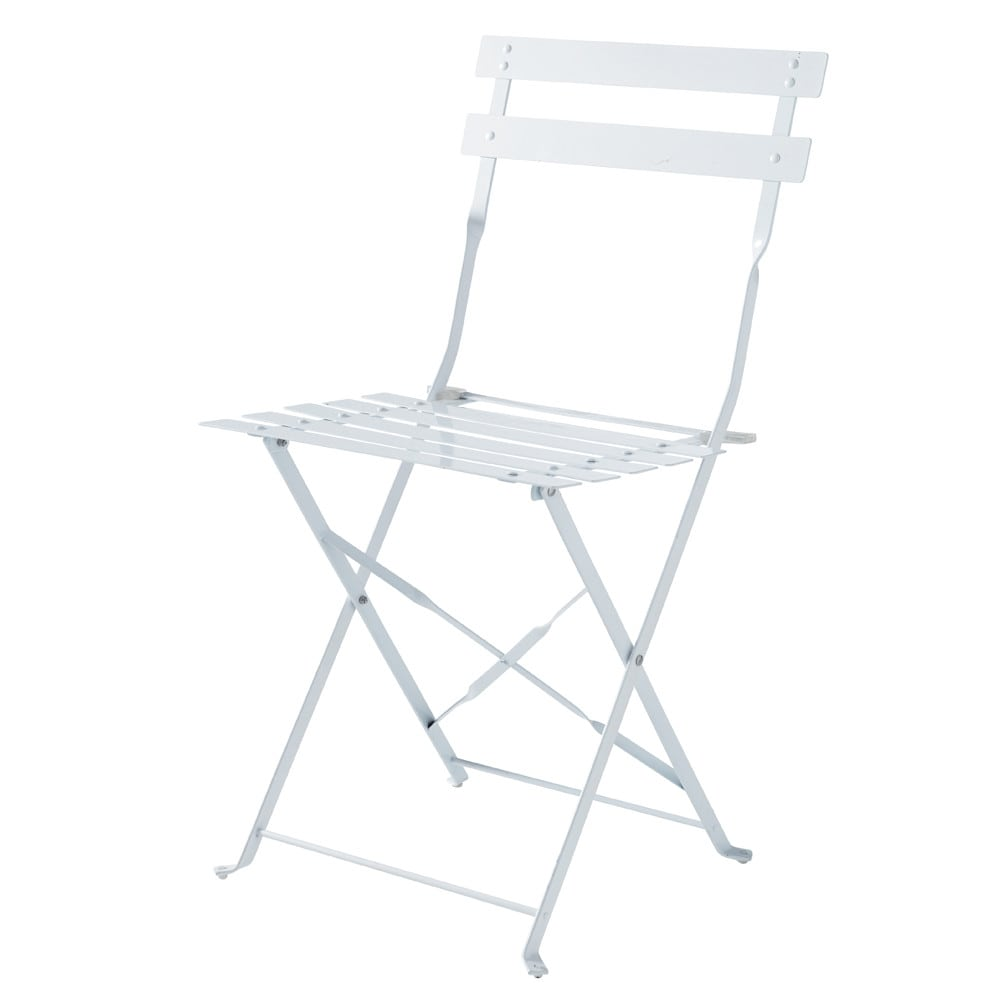 2 chaises pliantes de jardin en m tal blanches guinguette. Black Bedroom Furniture Sets. Home Design Ideas