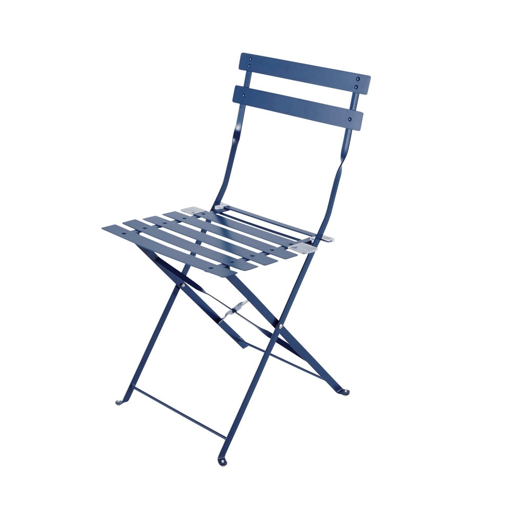 2 chaises pliantes de jardin en m tal bleues guinguette for Chaise de jardin metal pliante