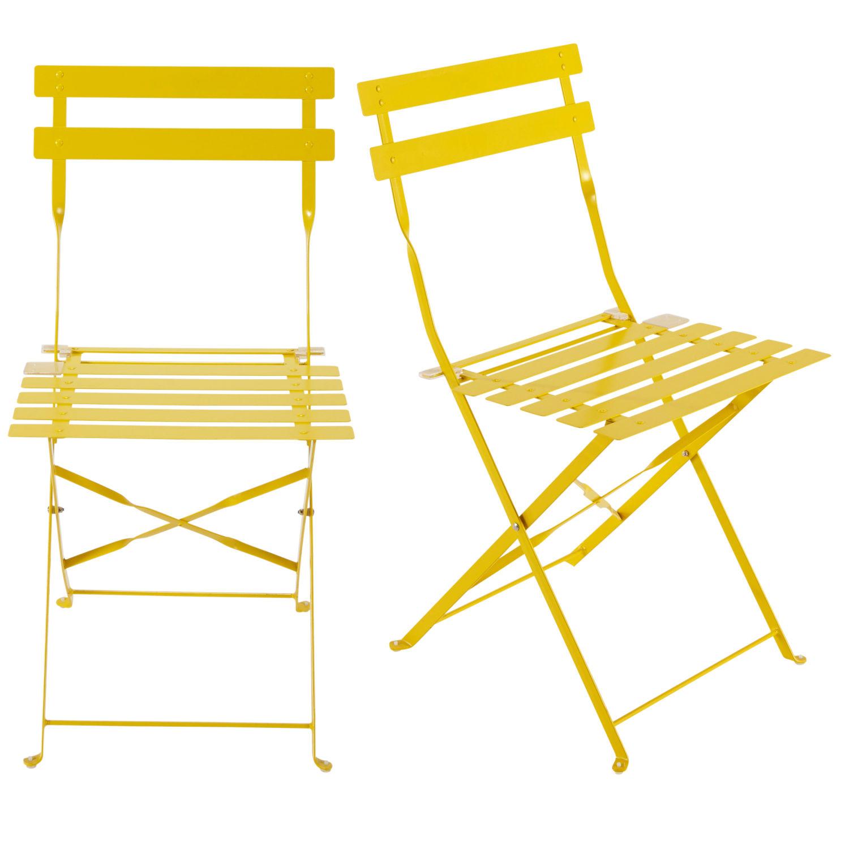 2 chaises pliantes de jardin en métal jaune Guinguette | Maisons du ...