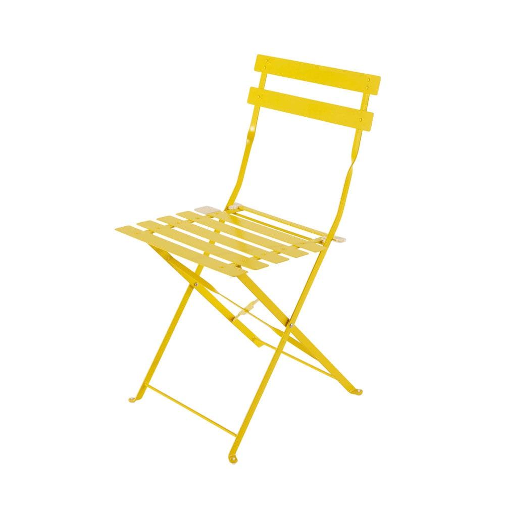 2 chaises pliantes de jardin en m tal jaune confetti for Chaises pliantes de jardin