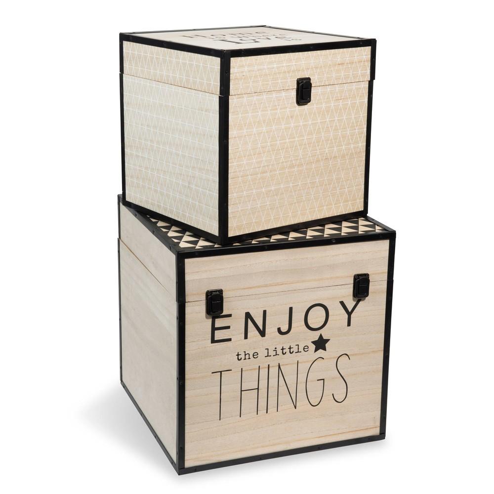 2 coffres en bois l 29 et l 35 cm graphique maisons du monde. Black Bedroom Furniture Sets. Home Design Ideas