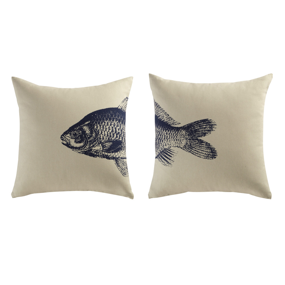 2 coussins en coton beige bleu 40 x 40 cm fish maisons. Black Bedroom Furniture Sets. Home Design Ideas