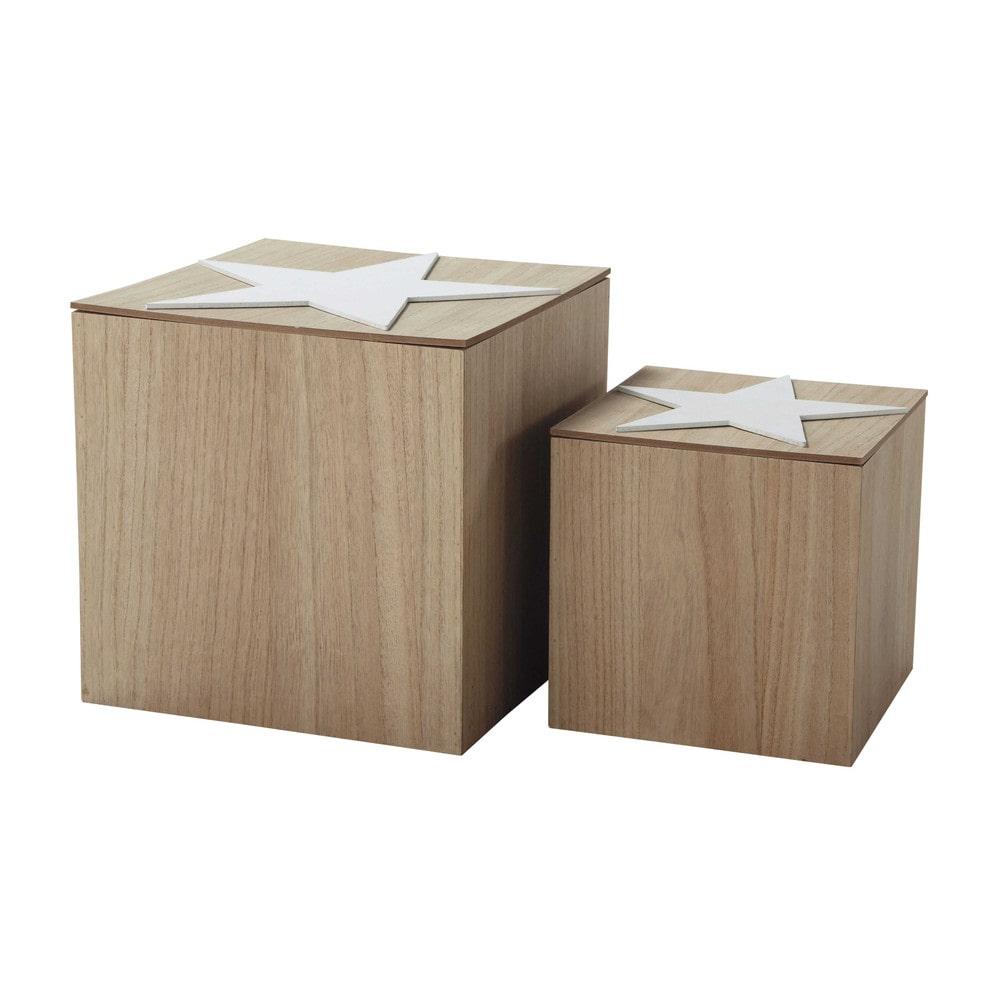 2 cubes de rangement toiles h 30 et h 40 cm moonlight maisons du monde. Black Bedroom Furniture Sets. Home Design Ideas