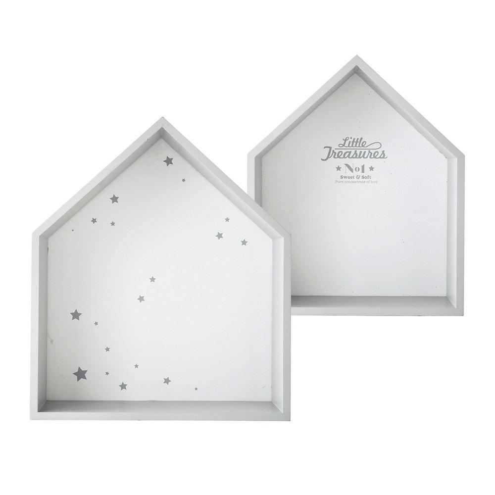 Maison Du Monde Etagere Murale #12: 2 étagères Murales Blanches H 30 Et H 35 Cm SONGE