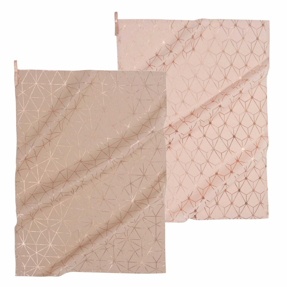 2 geschirrt cher aus baumwolle rosa beige magix maisons du monde. Black Bedroom Furniture Sets. Home Design Ideas