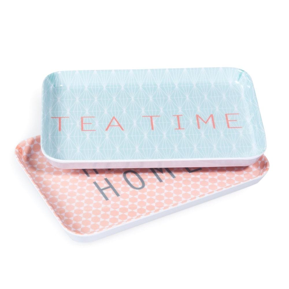 2 happy home melamine trays in blue coral maisons du monde - Plateau maison du monde ...