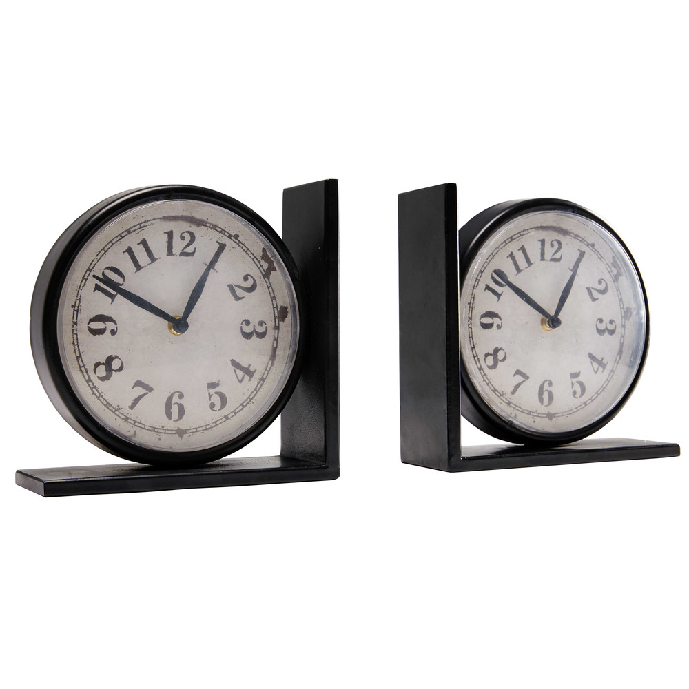 2 horloges serre livres larry maisons du monde. Black Bedroom Furniture Sets. Home Design Ideas