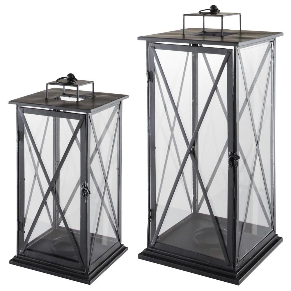 2 lanterne in metallo h 57 cm e h 68 cm comes maisons du for Lanterne da interno
