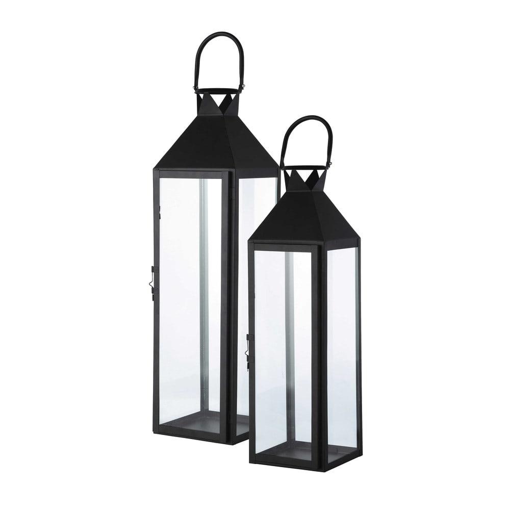 2 lanternes de jardin en m tal noires h 74 cm city for Maison du monde mobilier de jardin