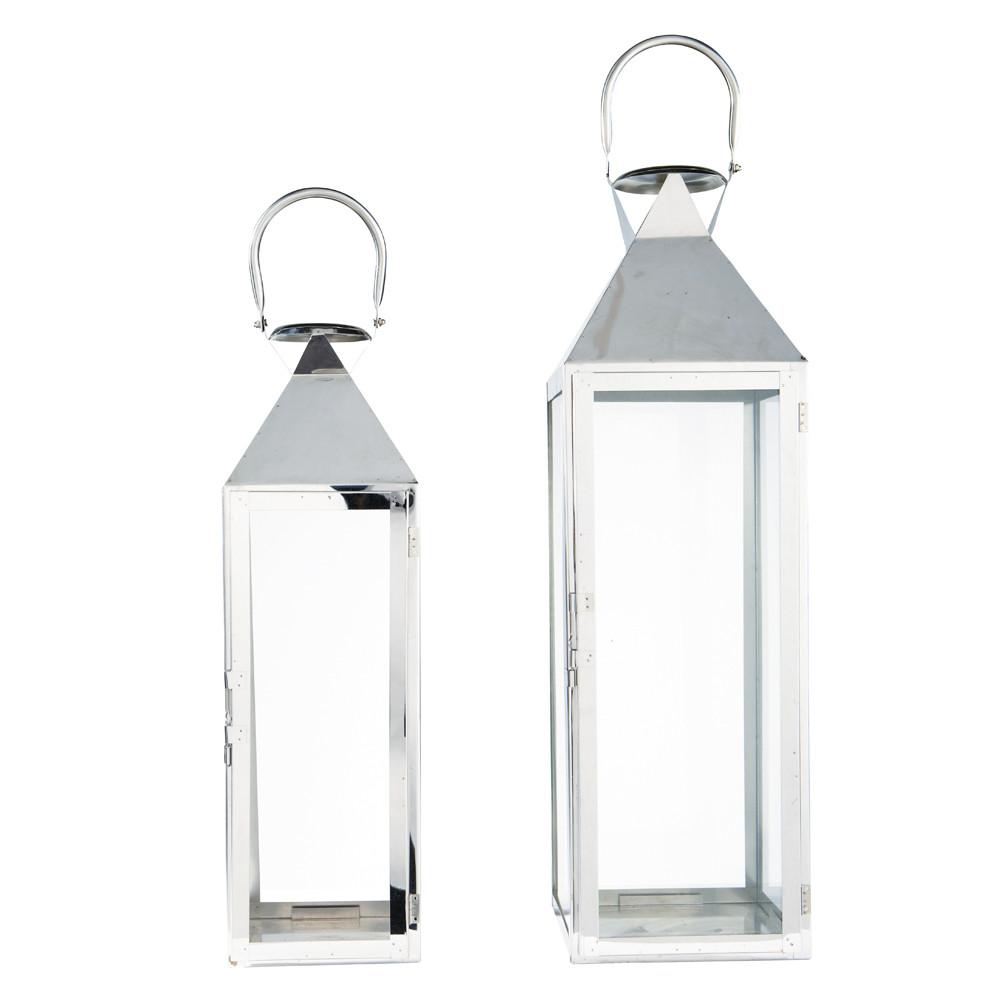 2 lanternes en m tal chrom maisons du monde. Black Bedroom Furniture Sets. Home Design Ideas