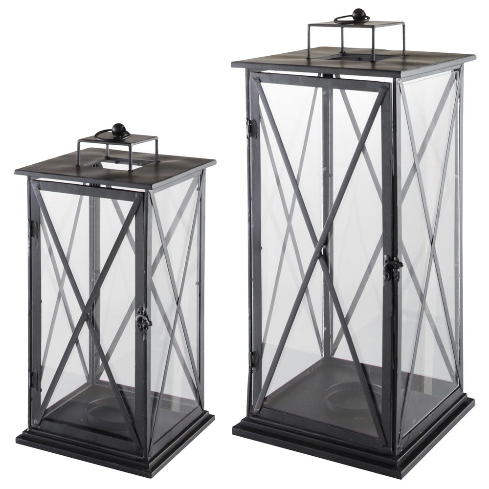 2 lanternes en m tal h 57 cm et h 68 cm comes maisons du monde for Photophore maison du monde