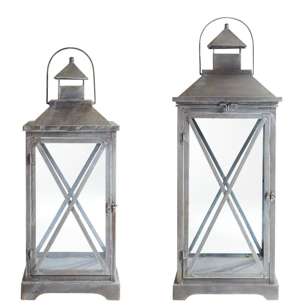 2 lanternes en m tal h 96 cm et h 118 cm vigny maisons du monde. Black Bedroom Furniture Sets. Home Design Ideas