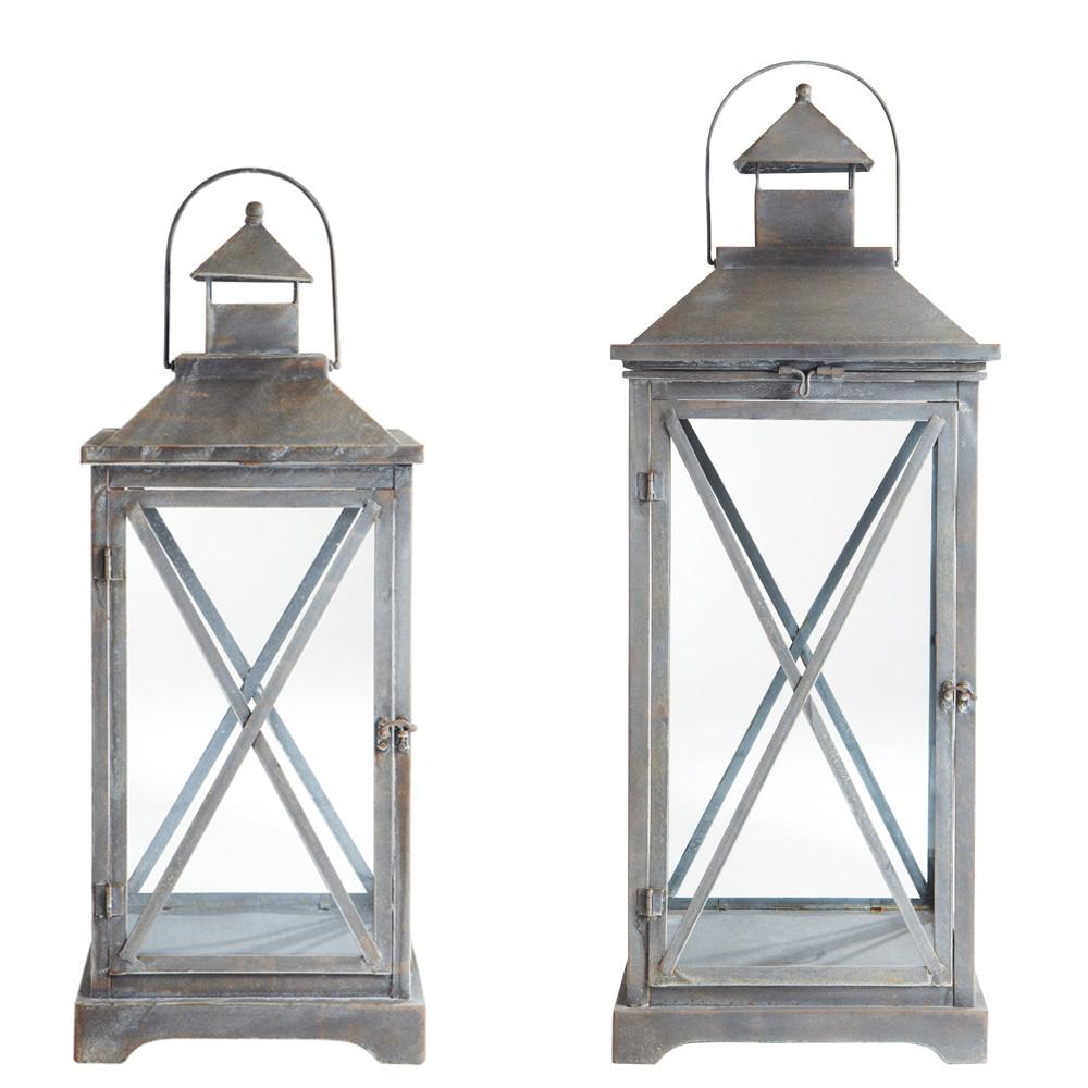 2 lanternes en m tal h 96 cm et h 118 cm vigny maisons. Black Bedroom Furniture Sets. Home Design Ideas