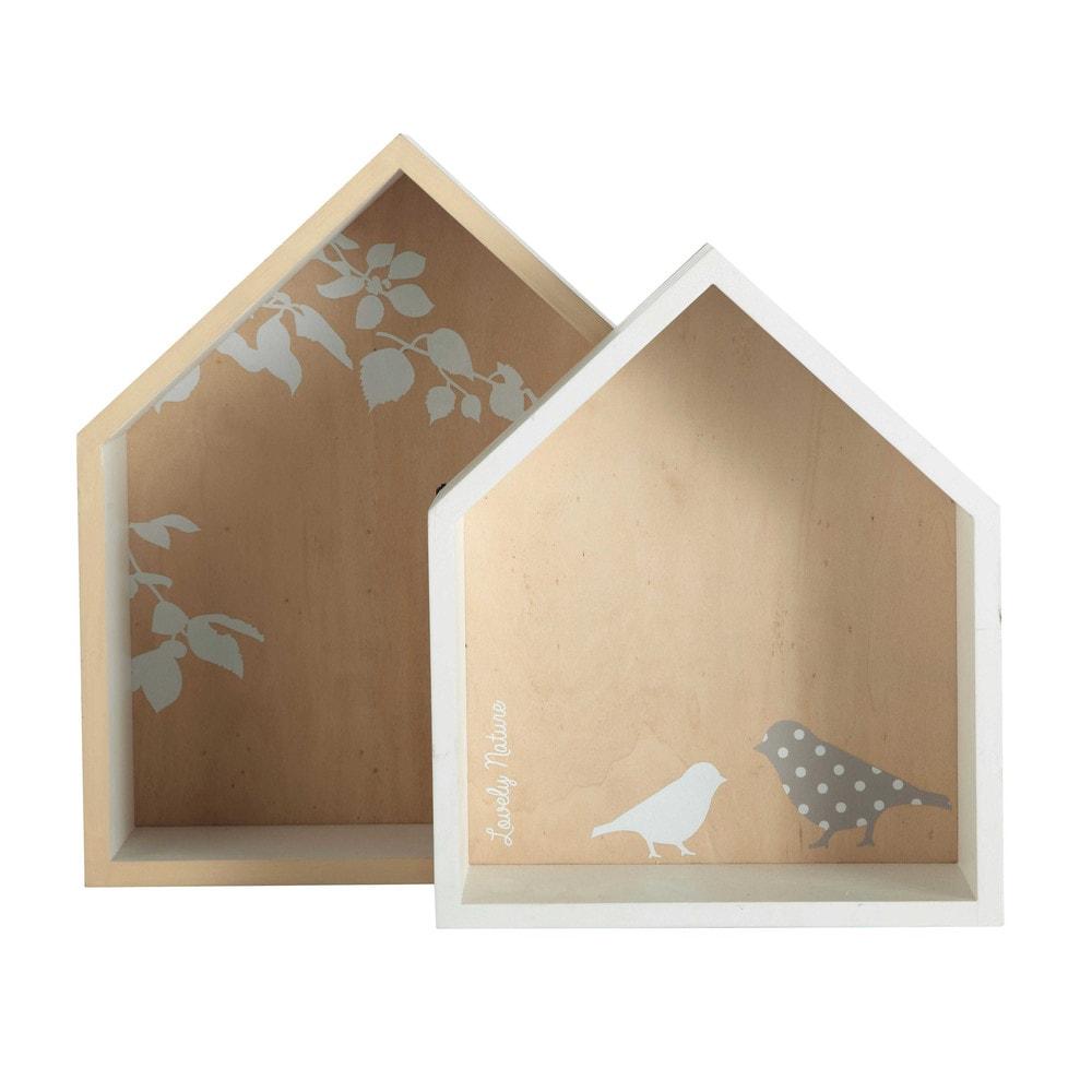 2 mensole casette bianche h 30 e h 35 cm birds maisons for Estanterias maison du monde