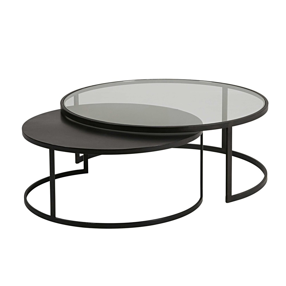 2 mesas bajas apilables de vidrio templado y metal negro - Mesas de vidrio templado ...