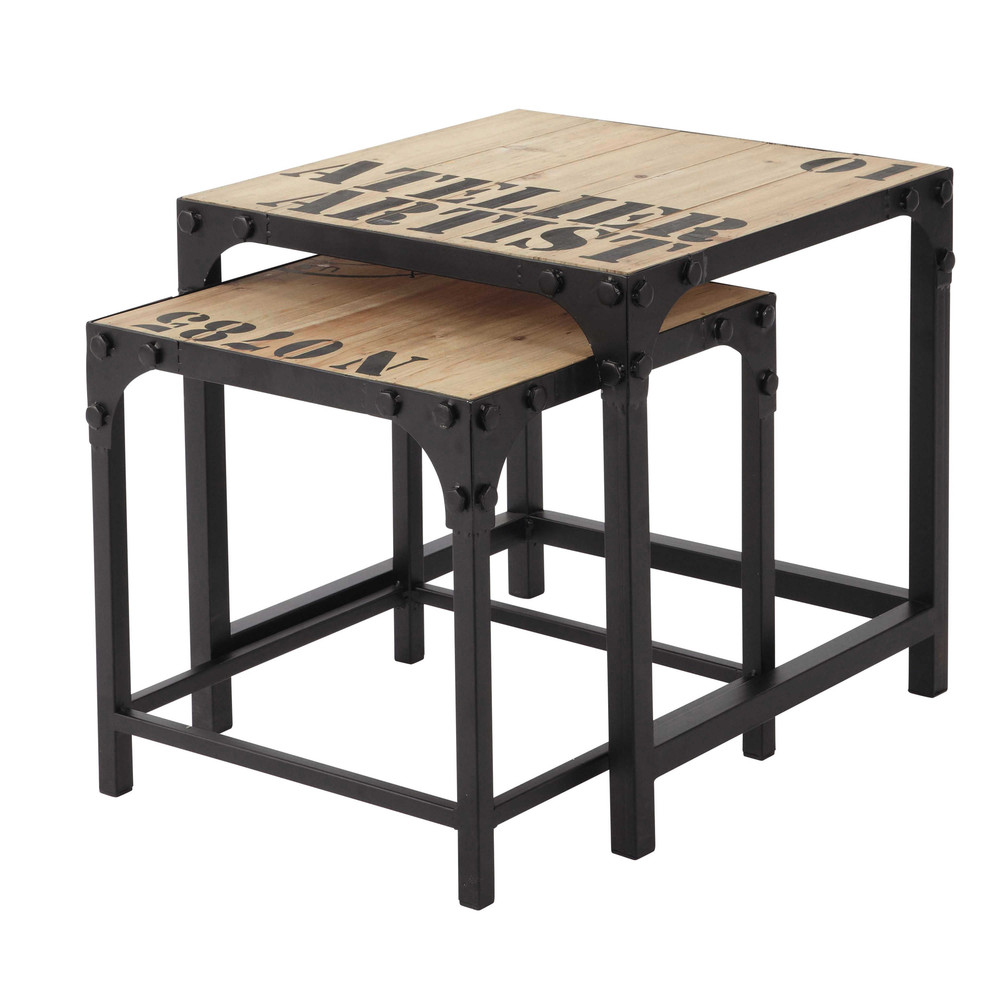 2 mesas bajas industriales de madera y metal an 45 cm for Mesas industriales vintage