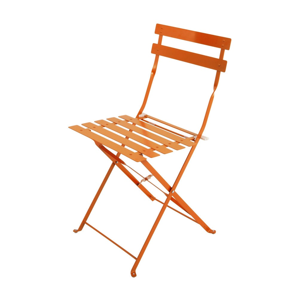2 metal folding garden chairs in orange guinguette maisons du monde. Black Bedroom Furniture Sets. Home Design Ideas