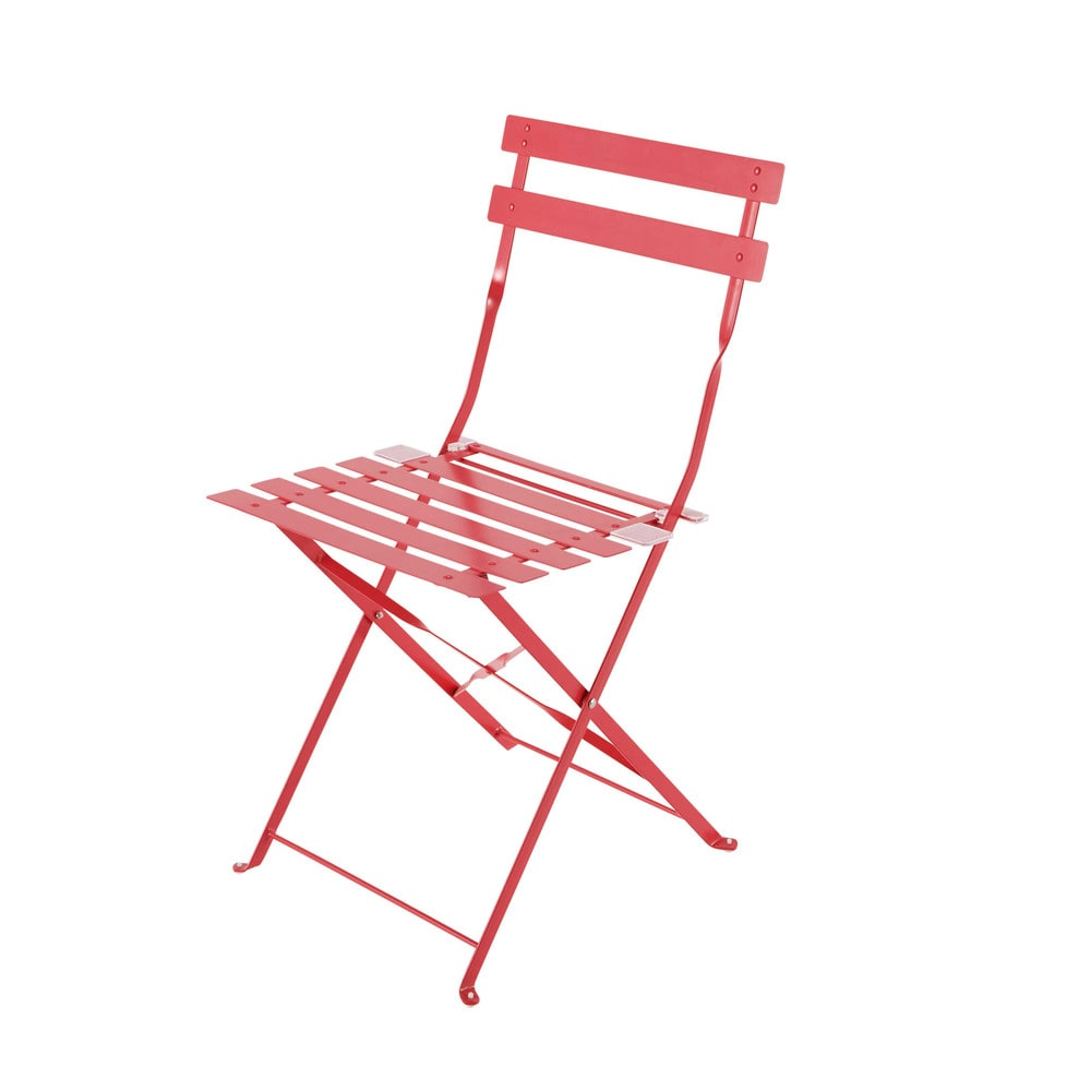 2 Metal Folding Garden Chairs in Red Confetti