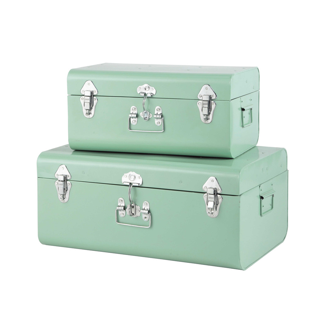 2 Metal Trunks In Light Blue W 44cm And 56cm Maisons