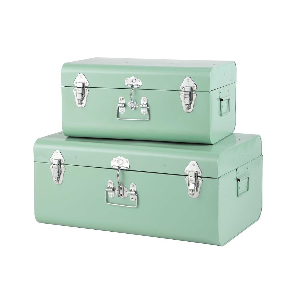 2 metal trunks in light blue w 44cm and w 56cm maisons du monde. Black Bedroom Furniture Sets. Home Design Ideas