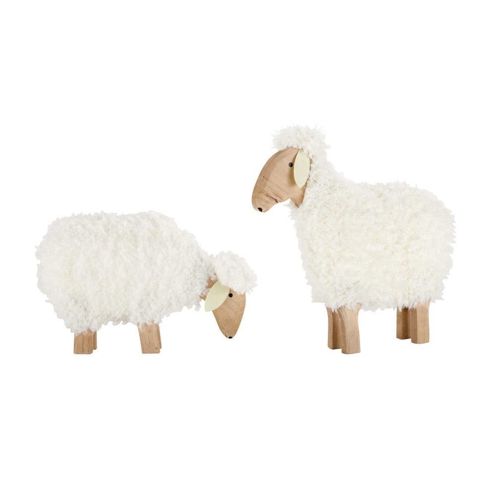 2 moutons d co en bois h 30 et h 50 cm p ture maisons du monde - Decoratie interieur bois ...