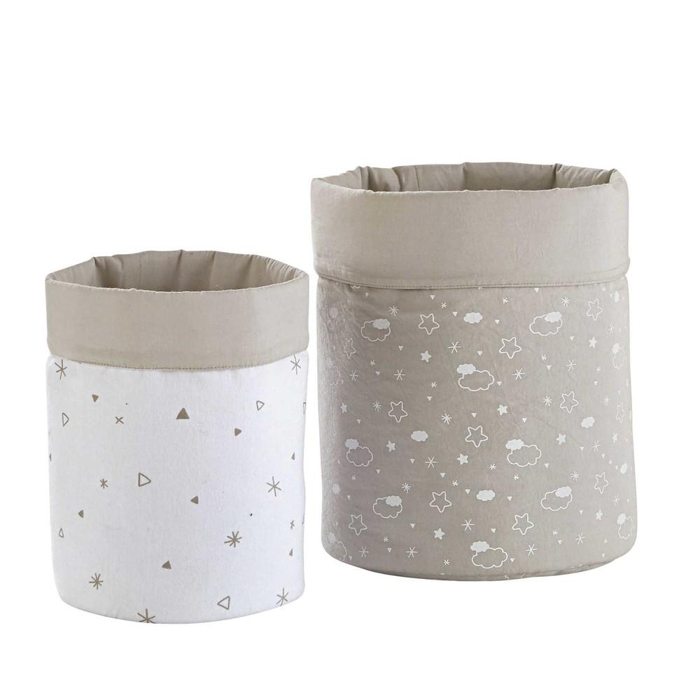 2 Paniers De Rangement En Coton Gris Et Blanc Moonlight
