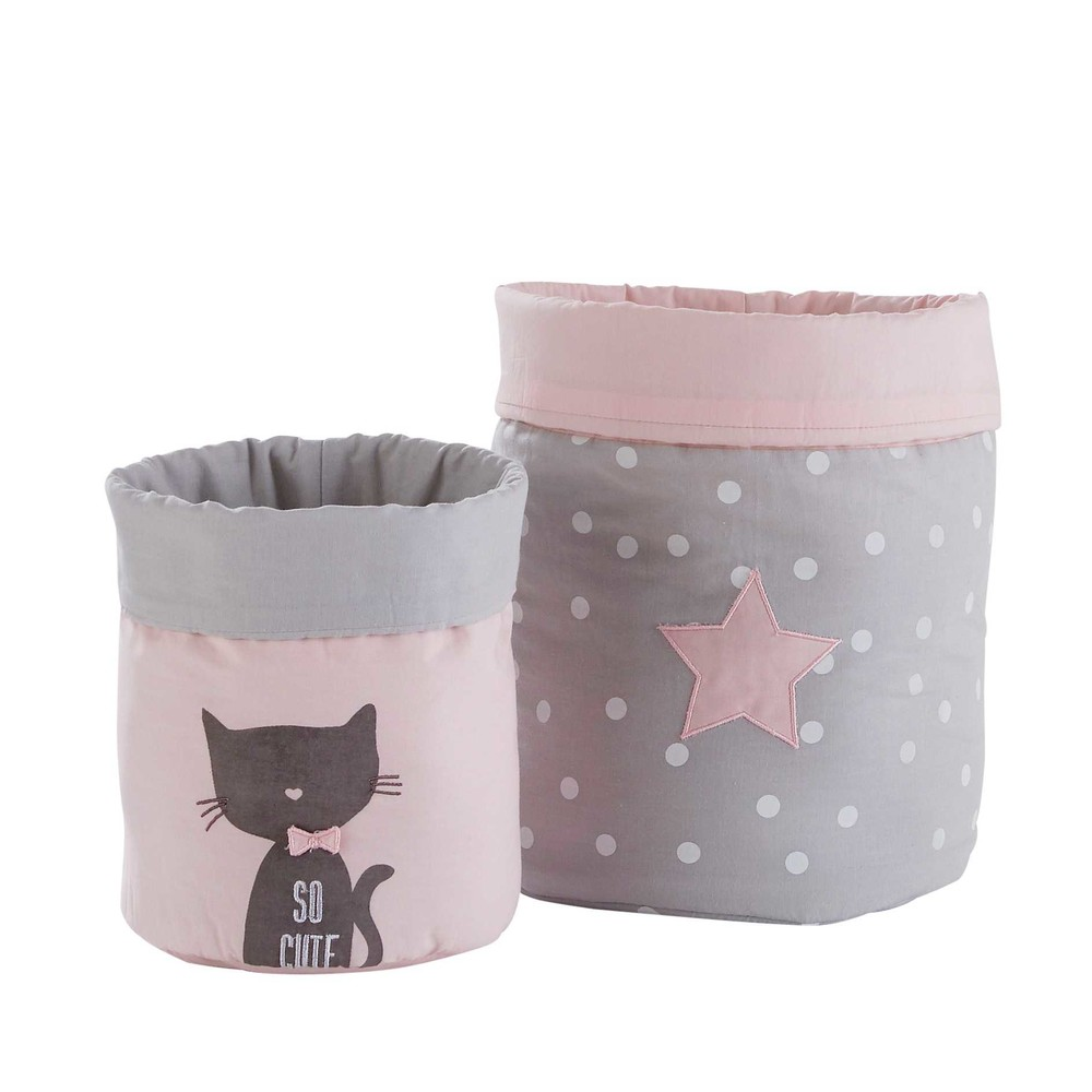 2 paniers de rangement en coton gris et rose cats. Black Bedroom Furniture Sets. Home Design Ideas